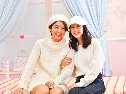 白い服×白い帽子のクリスマスコーデでピューロ!